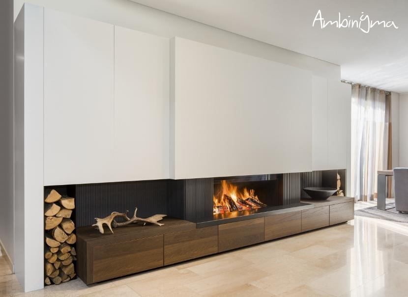 Recuperador de calor a lenha com Porta subir - Lareira M.Design Luna DIAMOND 1300 H