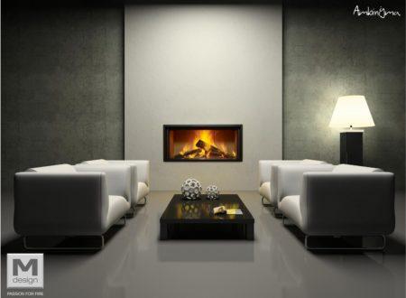 Recuperador de calor M-Design no centro de uma sala.