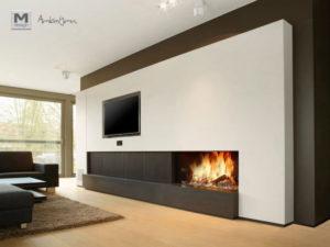 Opção de aquecimento assimétrica: TV e lareira.