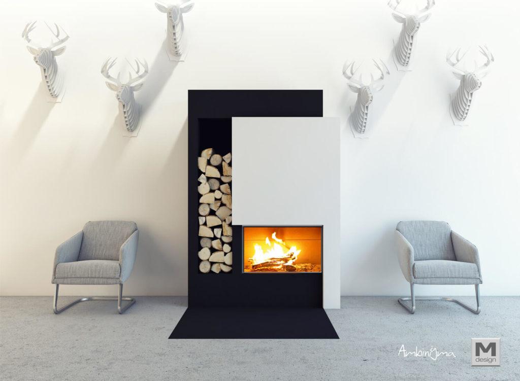 Lareira M-Design Luna Diamond 700hcom decoração contemporânea