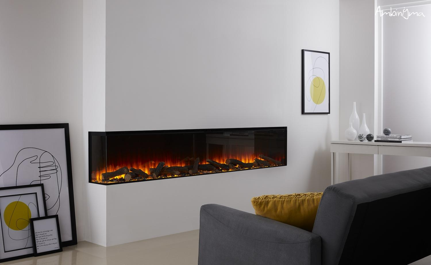 Lareira Eletrica BRITISH FIRE new forest 2400  Visao lateral 2-VIDROS